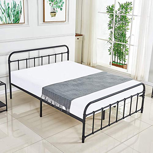DIMOTE Metal Bed Frame Elegant Curved Headboard and Footboard,12.6 Inch Underbed Storage No Boxing Spring Needed,Slats Support Vintage Style (Queen)