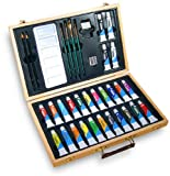 Watercolor Art Set Includes 35 Complete Painting Essentials In A Convenient Wood Carrying Case