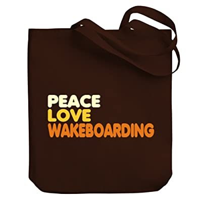 Teeburon PEACE , LOVE AND Wakeboarding Canvas Tote Bag