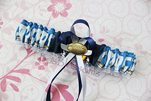 (Customizable - San Diego Chargers fabric handmade into bridal prom organza wedding garter with football charm)
