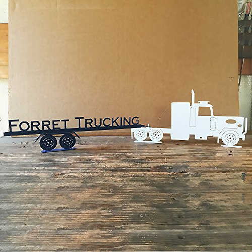 Peterbilt Semi Tractor and Trailer with Custom Text on Trailer (B22) (Dimensions Semi Truck)