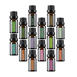 Aromatherapy Oils 100% Pure Therapeutic Grade Basic Essential Oil Gift Set by Wasserstein (Top 14, 10ml)