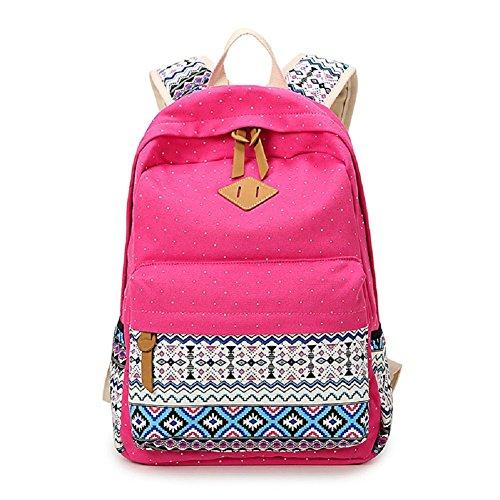 Generic Cute Girls Canvas Polka Dots Gypsy Printing Pattern Backpack  Rose