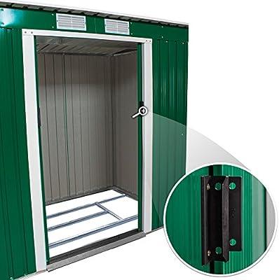 TecTake Cobertizo caseta de jardín metálica de Metal Invernadero almacén | + fundación Modelos (Tipo 2 | Verde | no. 402183): Amazon.es: Jardín
