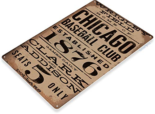 Tinworld TIN Sign Chicago Wrigley Field Card Metal Decor Art Baseball Shop Store A040