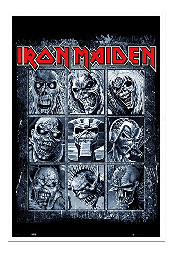 - Iron Maiden Eddies Poster Cork Pin Memo Board White Framed - 96.5 x 66 cms (Approx 38 x 26 inches)