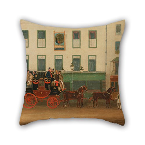 """Bestseason The Oil Painting James Pollard - The London-Manchester Stage Coach, """"the Peveril Of The Peak,�Outside The Peacock Inn, Islington Throw Cushion Covers Of ,16 X 16 Inches / 40 By 40 Cm - Manchester Bedroom Furniture"""