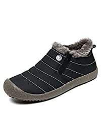 XIDISO Snow Boots for Mens Womens Winter Fully Fur Lined Anti-Slip Waterproof Outdoor Slip On Lightweight Ankle Boots