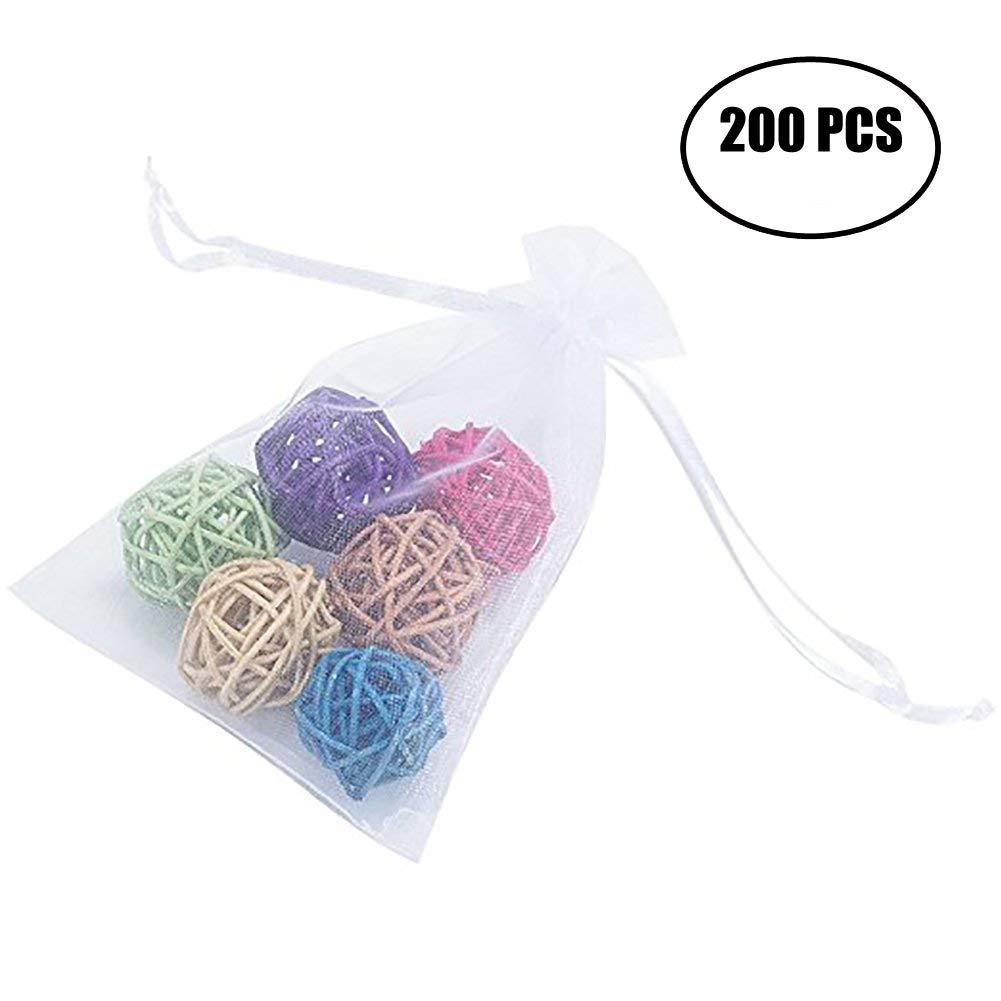 Tebery 200 Piece White Drawstring Gift Bag Organza Treasures Pouches Wedding Party Festival Gift Bags -  4' x 6'