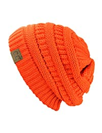 Trendy Warm Chunky Soft Stretch Cable Knit Beanie Skully, Neon Orange