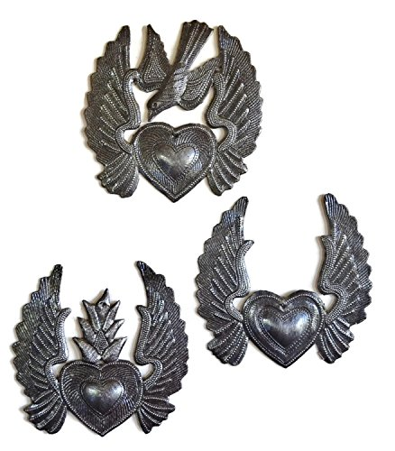(it's cactus - metal art haiti Small Hearts, Set of 3, Heart with Wings, Flaming Heart, Flying Heart, Angel Wings, Mini Birds, Novelty Gift, Ornaments 5