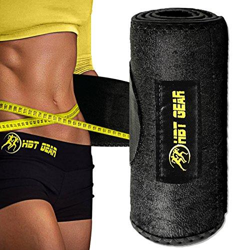 HBT Gear Waist Trimmer Sauna Waist Trainer Sweat Belt for Weight Loss w/ Attachable Cell Phone Holder [Bonus] - for Men and Women