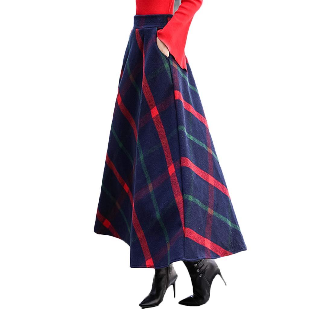 YKJL Faldas a Cuadros de Lana para Mujer Falda Larga de Cintura ...