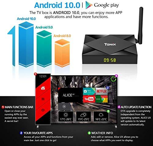 MFY TV Box Android 10 4GB RAM 64GB ROM, Android TV Box H616 Quad-Core 64bit Support Dual-WiFi 5GHz/2.4GHz, 3D Ultra HD 8K4K, BT 4.0 USB 3.0 - balck
