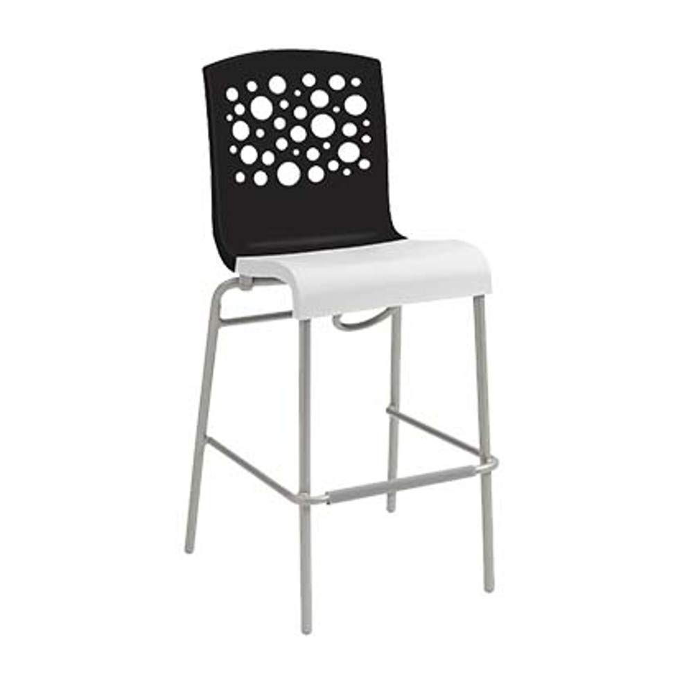 Grosfillex US836017 Tempo Stacking Barstool, Black with White Seat (Case of 8)
