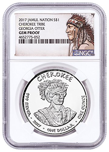 2017 Native American Silver Dollar - Georgia Cherokee - Otter 1 oz Silver Proof Coin Native American Label $1 Gem Proof - Proof Silver Oz 1 Gem