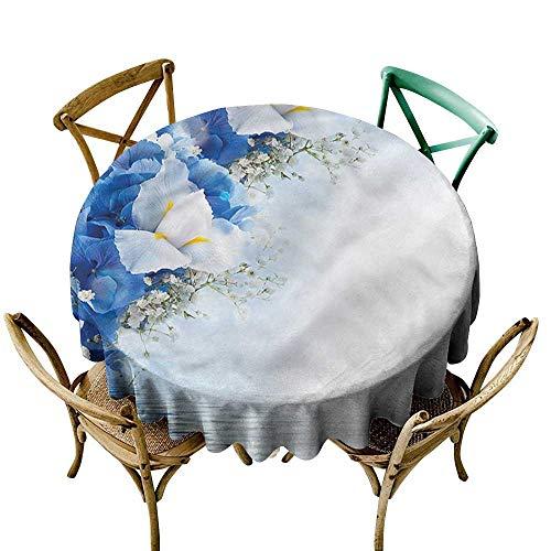 Round Tablecloth Cotton Blue and White,Hydrangeas Irises D70,for Umbrella Table