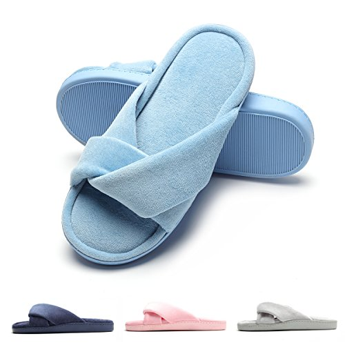 FLY House Foam Indoor Velvet Slippers HAWK Women's Memory Shoes Blue Toe Cozy Open Slide rXpZrv1