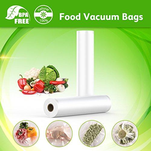 Food Saver Bags Rolls Foodsaver Vacuum Rolls Commercial Vacuum Sealer Rolls Food Storage Saver Bag Compatible to Food saver Sous Vide Vacuum Saver Rolls 11 Inch X 16 Feet (2 Pack)