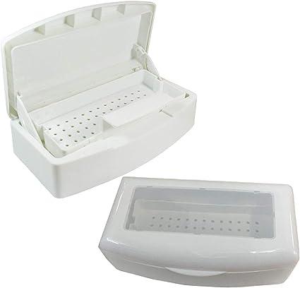 Josopa esterilización de uñas bandeja limpia caja esterilizador bandeja desinfección caja de plástico herramienta de salón de arte de uñas caja de manicura uñas cajas de arte: Amazon.es: Belleza