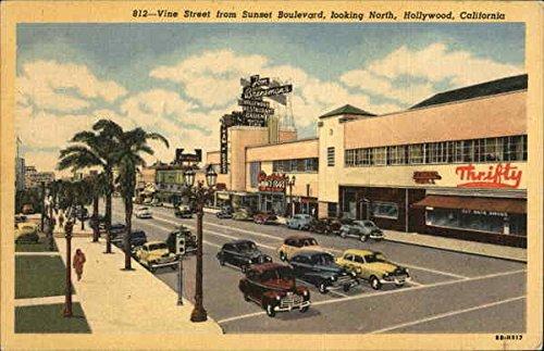 Vine Street from Sunset Boulevard, Looking North Hollywood, California Original Vintage (Boulevard Postcard)