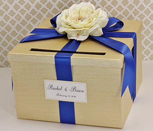 Wedding Card Money Holder Box Champagne Gold and Royal Blue Cream Flower Customizable