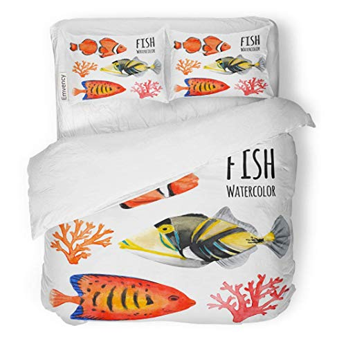 SINOVAL Decor Duvet Cover Set King Size Blue Angel of Marine Tropical Fish Watercolor Angelfish Colorful Flame 3 Piece Brushed Microfiber Fabric Print Bedding Set ()