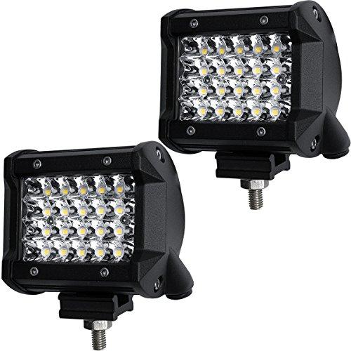 LED Pods, DJI 4X4 2Pcs 4'' 144W LED Light Bar Quad Row OSRAM Spot Beam LED Cubes Work Light Off road Driving Fog Lamps for Truck Jeep ATV UTV SUV Boat Marine, 2 Years Warranty