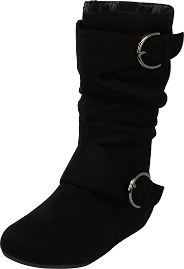 Kid/'s Youth/'s Causal Round Toe Flat Zip Buckle Slouch Boots Size 9-4 NEW