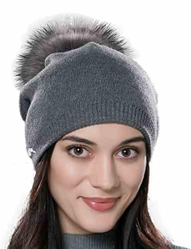 de787dcadd07d URSFUR Autumn Unisex Wool Knit Beanie Cap with Fur Ball Pom Pom Winter Hat