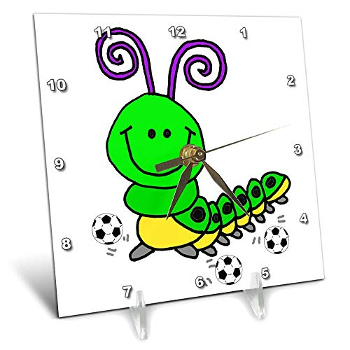 3dRose All Smiles Art - Animals - Cute Funny Green Caterpillar Playing Soccer or Football Cartoon - 6x6 Desk Clock (dc_291197_1) by 3dRose