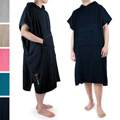 SUN CUBE Navy Surf Poncho Changing Robe with Hood, Zippered Pocket, Adjustable Sleeves | Beach, Swim, Wetsuit, Watersports Changing Towel | One Size Fits All | Thick Absorbent 100% Terry Cotton - Surfing Hood
