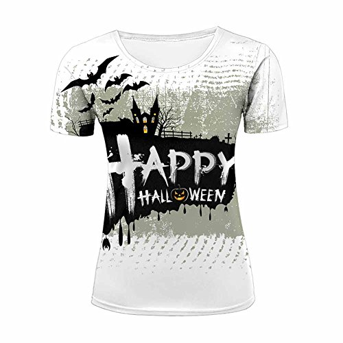 (ZeShan Womens Tee Shirts Top S-XXXL Happy Halloween 3D Printing T-Shirt)
