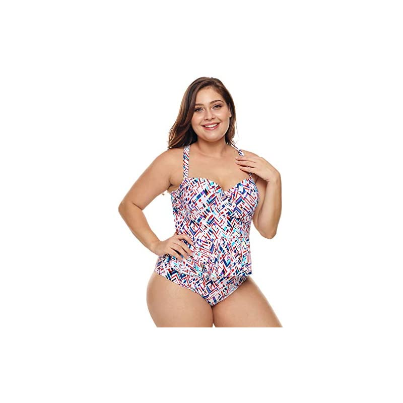 3345cd02af6a8 Gloria&Sarah Womens Plus Size Two Piece Strap Peplum Tankini Bathing Suits  Swimwear L-XXXL