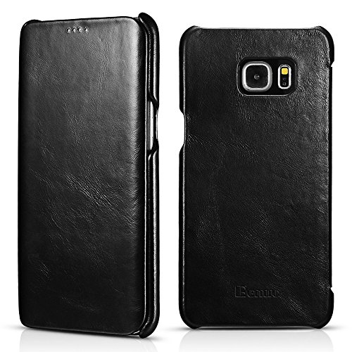 Galaxy S6 Edge Plus Case, Benuo [Vintage Classic Series] [Genuine Leather] Flip Case Folio Cover [Ultra Slim] [Business Style], Leather Case [Edge Protector] for Samsung Galaxy S6 Edge Plus (Black)