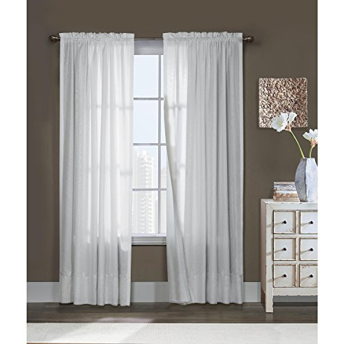 - Thermavoile Commonwealth Rhapsody Lined Tailored Pole Top Curtain Panel White 54 x 72