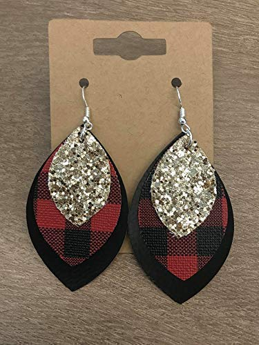 (Red Black & Gold Plaid Holiday Earrings)
