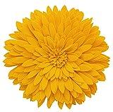 Fennco Styles 3D Sunflower Decorative Throw Pillow 13'' Round (Gold, Case+Insert)