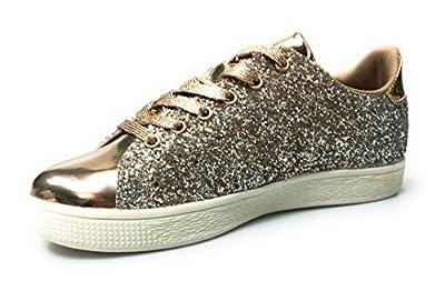 Forever Link Women's Glitter Fashion Sneakers (9, Rose Glitter-1)