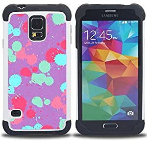 GIFT CHOICE / Defensor Cubierta de protección completa Flexible TPU Silicona + Duro PC Estuche protector Cáscara Funda Caso / Combo Case for Samsung Galaxy S5 V SM-G900 // Teal Pink Purple Paint Pattern //
