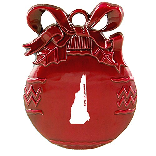 New Hampshire-State Outline-Christmas Tree Ornament-Red - New Hampshire State Tree