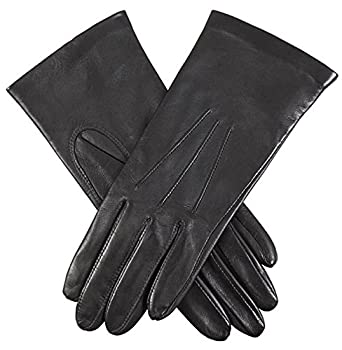 f25901668d851 Dents Womens Elizabeth Silk Lined Smooth Grain Leather Gloves - Black -  Small