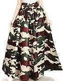 Sakkas 19417 - Ami Women's Maxi Long African Ankara Print Skirt Pockets & Elastic Waist - 135-Camo - OS