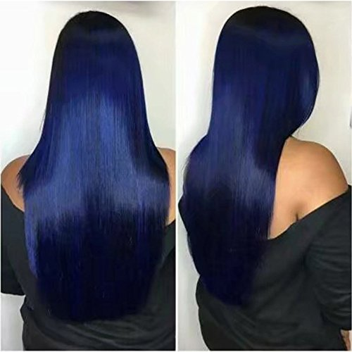 Kerrywigs Grade 10A Brazilian Hair Blue Color Silky Straight Full Lace Human Hair Wigs Pre Plucked Baby Hair Glueless Long Straight Ombre Lace Front Wigs 150 Density-24inch lace front wig by Kerrywigs