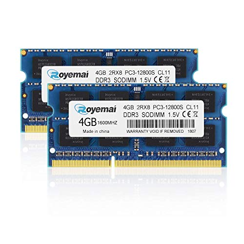 ROYEMAI 8GB Kit (2x4GB), PC3-12800, DDR3 1600, RAM DDR3 2Rx8 PC3 12800S 1.5V CL11 204-pin 1600 mhz DDR3 So-dimm Notebook RAM Memory Modules for -