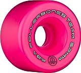 RollerBones Team Logo 98A Recreational Roller Skate Wheels (Set of 8), Pink, 57mm