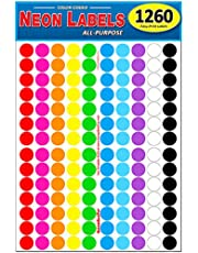 """Pack of 1260 3/4"""" Round Color Coding Circle Dot Labels, 8 1/2"""" x 11"""" Sheet, Fits Any Printer"""