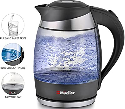 Mueller Ultra Electric Kettle Fast Boiling Glass Tea, Coffee Pot 1.8L Cordless with LED Light Inside High Quality Borosilicate Glass BPA-Free