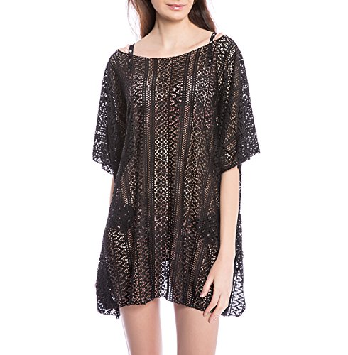 Aaronano Womens' Summer Beach Cover Up,Sexy Lace Swimsuit Tunic Black