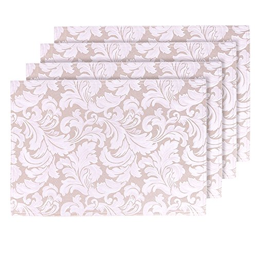 ColorBird Scroll Damask Jacquard Placemats Waterproof Spillproof Microfiber Fabric Table Place Mat Doily, Set of 4, 13 x 19 Inch, Beige